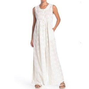 Free People White Flower Embroidered Jumpsuit